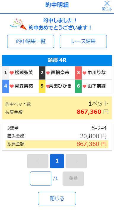 競艇オニアツ6月27日鬼姫2レース目