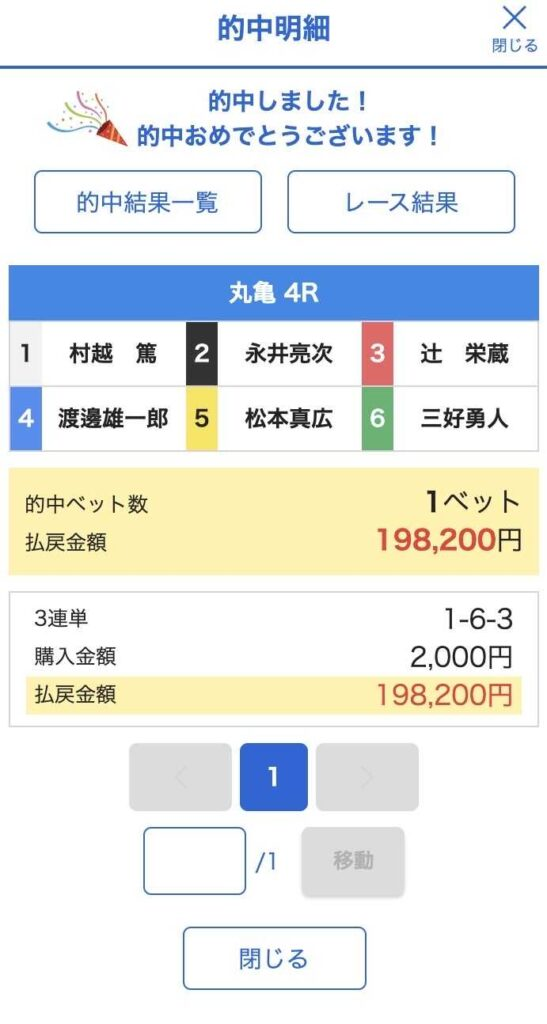 6月5日丸亀競艇場4Rの的中情報