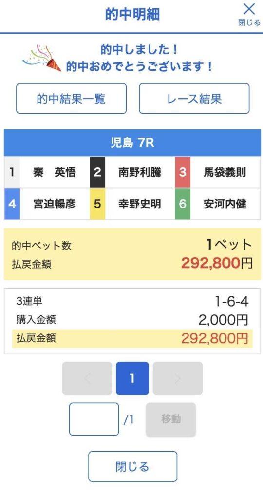 6月4日の児島7R結果