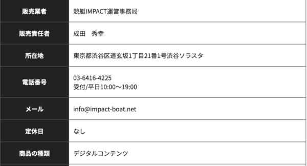 競艇インパクトの運営会社情報