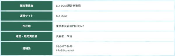 シックスボートの運営会社情報