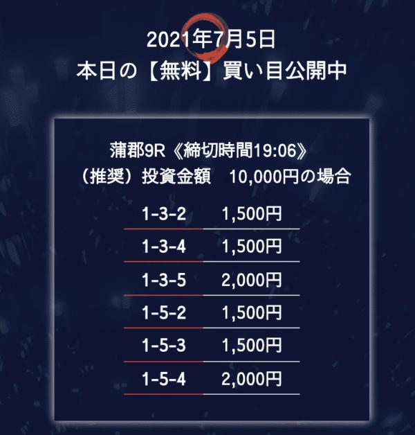 花舟7月5日の無料予想プラン買い目